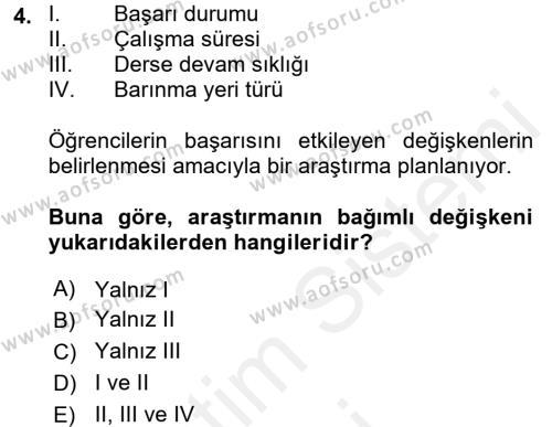 İstatistik Dersi 2018 - 2019 Yılı (Vize) Ara Sınavı 4. Soru