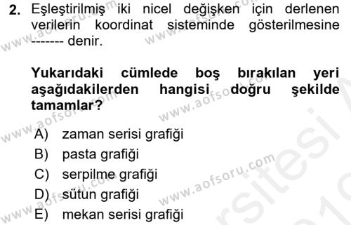 İstatistik Dersi 2018 - 2019 Yılı (Final) Dönem Sonu Sınav Soruları 2. Soru