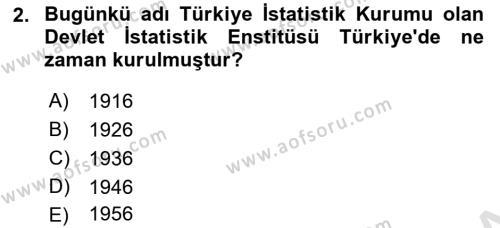 İstatistik Dersi 2019 - 2020 Yılı (Vize) Ara Sınav Soruları 2. Soru