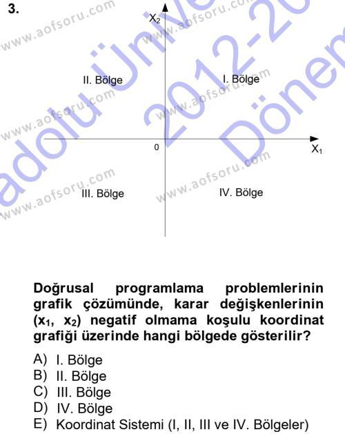 Yöneylem Araştırması 1 Dersi 2012 - 2013 Yılı Dönem Sonu Sınavı 3. Soru