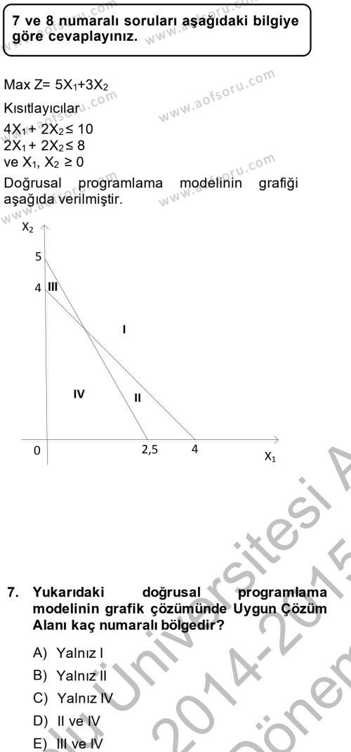 Yöneylem Araştırması 1 Dersi Dönem Sonu Sınavı Deneme Sınav Soruları 7. Soru