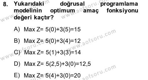 Yöneylem Araştırması 1 Dersi Dönem Sonu Sınavı Deneme Sınav Soruları 8. Soru