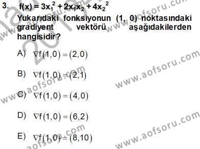 Lojistik Bölümü 4. Yarıyıl Yöneylem Araştırması II Dersi 2014 Yılı Bahar Dönemi Tek Ders Sınavı 3. Soru
