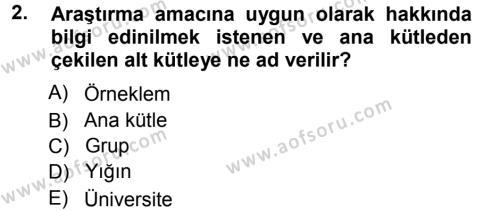 Tıbbi İstatistik Dersi 2012 - 2013 Yılı (Vize) Ara Sınav Soruları 2. Soru