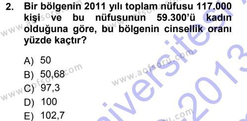 Tıbbi İstatistik Dersi 2012 - 2013 Yılı (Final) Dönem Sonu Sınav Soruları 2. Soru