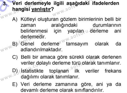 Tıbbi İstatistik Dersi 2012 - 2013 Yılı (Final) Dönem Sonu Sınav Soruları 3. Soru