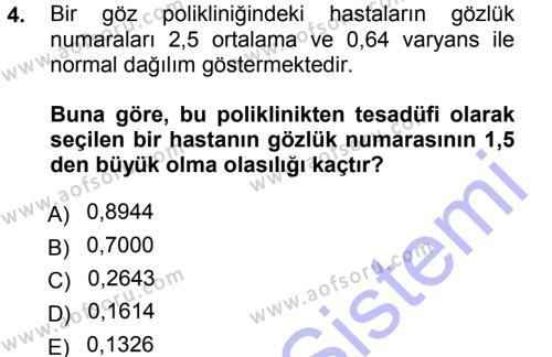 Tıbbi İstatistik Dersi 2012 - 2013 Yılı (Final) Dönem Sonu Sınav Soruları 4. Soru