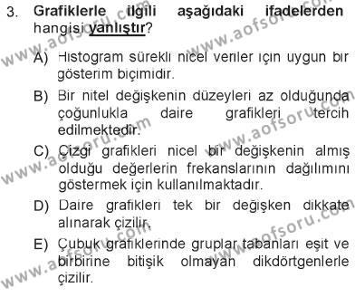 Tıbbi İstatistik Dersi 2012 - 2013 Yılı Tek Ders Sınav Soruları 3. Soru