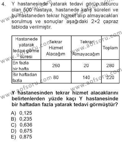 Sağlık Kurumları İşletmeciliği Bölümü 3. Yarıyıl Tıbbi İstatistik Dersi 2013 Yılı Güz Dönemi Tek Ders Sınavı 4. Soru