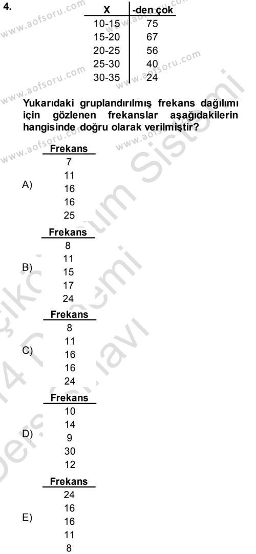 Tıbbi İstatistik Dersi 2013 - 2014 Yılı Tek Ders Sınav Soruları 4. Soru