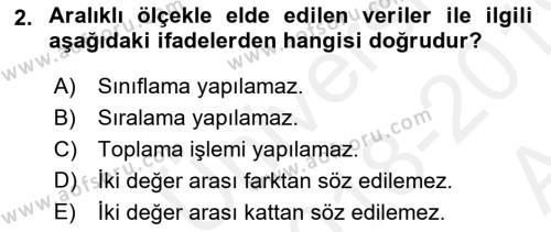 Tıbbi İstatistik Dersi 2018 - 2019 Yılı (Vize) Ara Sınav Soruları 2. Soru
