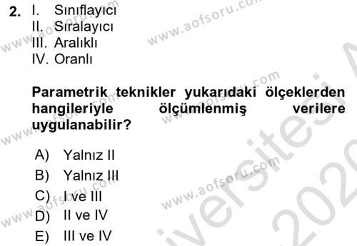 Tıbbi İstatistik Dersi 2019 - 2020 Yılı (Vize) Ara Sınav Soruları 2. Soru