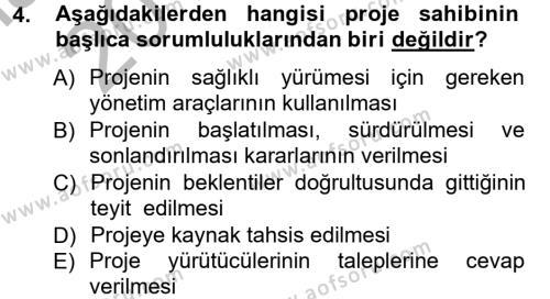 İşletme Yönetimi Bölümü 3. Yarıyıl Proje Analizi ve Değerlendirme Dersi 2013 Yılı Güz Dönemi Ara Sınavı 4. Soru