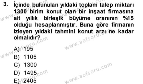 Proje Analizi ve Değerlendirme Dersi 2013 - 2014 Yılı Dönem Sonu Sınavı 3. Soru