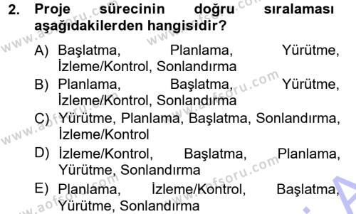 İşletme Yönetimi Bölümü 3. Yarıyıl Proje Analizi ve Değerlendirme Dersi 2015 Yılı Güz Dönemi Ara Sınavı 2. Soru