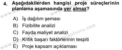 Proje Analizi ve Değerlendirme Dersi 2015 - 2016 Yılı (Vize) Ara Sınav Soruları 4. Soru