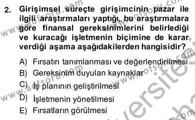 İşletme Yönetimi Bölümü 4. Yarıyıl İş Planı Dersi 2014 Yılı Bahar Dönemi Ara Sınavı 2. Soru