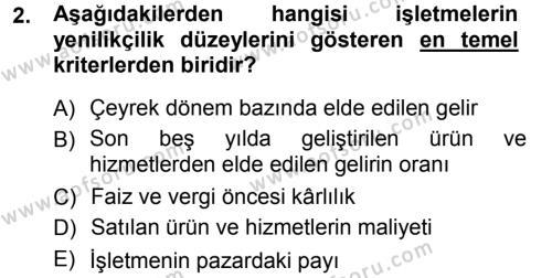 Yenilik Yönetimi Dersi 2012 - 2013 Yılı (Vize) Ara Sınav Soruları 2. Soru