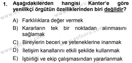 Yenilik Yönetimi Dersi 2013 - 2014 Yılı Ara Sınavı 1. Soru