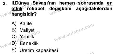 Yenilik Yönetimi Dersi 2013 - 2014 Yılı Ara Sınavı 2. Soru
