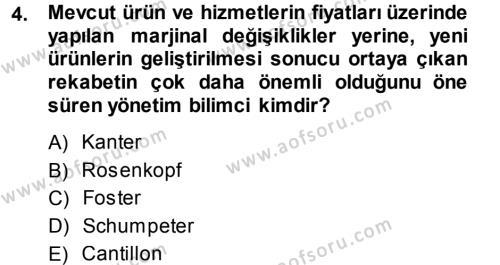 Yenilik Yönetimi Dersi 2013 - 2014 Yılı (Vize) Ara Sınav Soruları 4. Soru