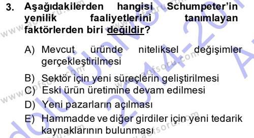 Yenilik Yönetimi Dersi 2014 - 2015 Yılı (Vize) Ara Sınav Soruları 3. Soru