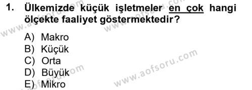 İşletme Yönetimi Bölümü 4. Yarıyıl Küçük İşletme Yönetimi Dersi 2013 Yılı Bahar Dönemi Dönem Sonu Sınavı 1. Soru