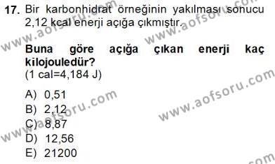 Genel Kimya 1 Dersi Ara Sınavı Deneme Sınav Soruları 17. Soru