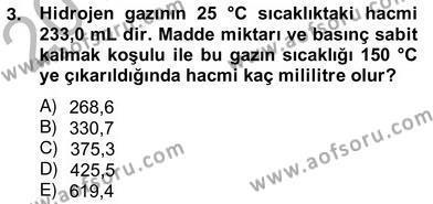 Tarım Bölümü 2. Yarıyıl Genel Kimya II Dersi 2013 Yılı Bahar Dönemi Ara Sınavı 3. Soru