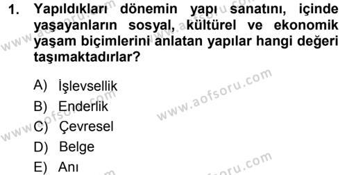 Kültürel Miras ve Turizm Bölümü 1. Yarıyıl Kültürel Miras Mevzuatı Dersi 2015 Yılı Güz Dönemi Dönem Sonu Sınavı 1. Soru