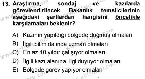 Kültürel Miras Mevzuatı Dersi 2014 - 2015 Yılı (Final) Dönem Sonu Sınavı 13. Soru