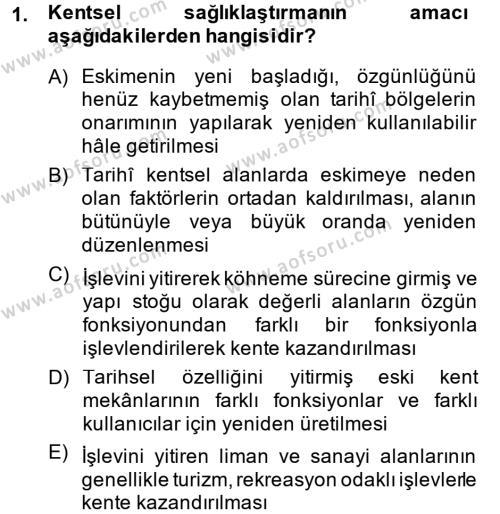 Kültürel Miras ve Turizm Bölümü 2. Yarıyıl Kentsel ve Çevresel Koruma Dersi 2015 Yılı Bahar Dönemi Dönem Sonu Sınavı 1. Soru
