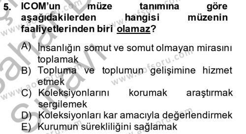 Kültürel Miras ve Turizm Bölümü 2. Yarıyıl Müzecilik ve Sergileme Dersi 2013 Yılı Bahar Dönemi Ara Sınavı 5. Soru
