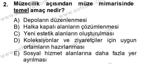 Kültürel Miras ve Turizm Bölümü 2. Yarıyıl Müzecilik ve Sergileme Dersi 2014 Yılı Bahar Dönemi Ara Sınavı 2. Soru