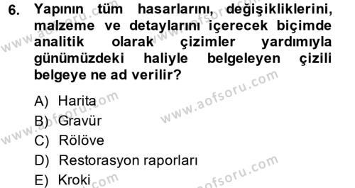 Restorasyon ve Koruma İlkeleri Dersi 2013 - 2014 Yılı (Final) Dönem Sonu Sınavı 6. Soru