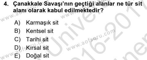 Restorasyon ve Koruma İlkeleri Dersi 2016 - 2017 Yılı (Final) Dönem Sonu Sınavı 4. Soru