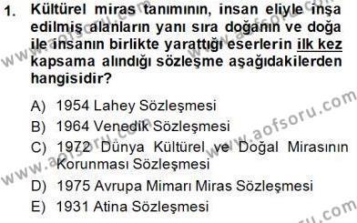 Kültürel Miras ve Turizm Bölümü 3. Yarıyıl Kültürel Miras Yönetimi Dersi 2015 Yılı Güz Dönemi Ara Sınavı 1. Soru