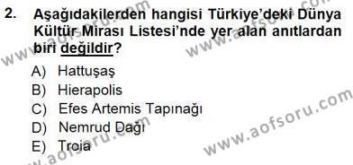 Kültürel Miras ve Turizm Bölümü 3. Yarıyıl Türkiye'nin Kültürel Mirası I Dersi 2015 Yılı Güz Dönemi Ara Sınavı 2. Soru