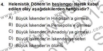 Türkiye´nin Kültürel Mirası 1 Dersi 2014 - 2015 Yılı Ara Sınavı 4. Soru