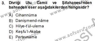 Türkiye´nin Kültürel Mirası 1 Dersi 2014 - 2015 Yılı Dönem Sonu Sınavı 3. Soru