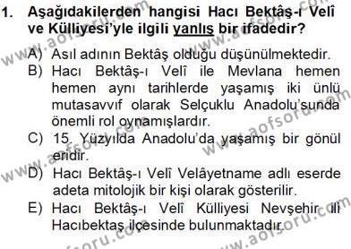 Kültürel Miras ve Turizm Bölümü 4. Yarıyıl Türkiye'nin Kültürel Mirası II Dersi 2013 Yılı Bahar Dönemi Dönem Sonu Sınavı 1. Soru