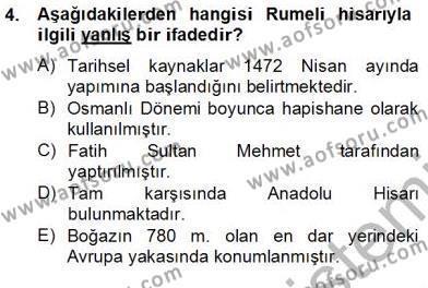 Kültürel Miras ve Turizm Bölümü 4. Yarıyıl Türkiye'nin Kültürel Mirası II Dersi 2013 Yılı Bahar Dönemi Dönem Sonu Sınavı 4. Soru
