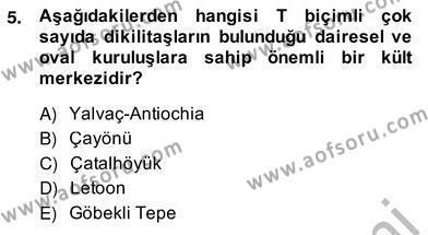 Kültürel Miras ve Turizm Bölümü 4. Yarıyıl Türkiye'nin Kültürel Mirası II Dersi 2014 Yılı Bahar Dönemi Ara Sınavı 5. Soru