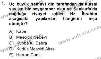 Türkiye´nin Kültürel Mirası 2 Dersi 2014 - 2015 Yılı Ara Sınavı 1. Soru
