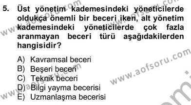 Konaklama İşletmeciliği Bölümü 4. Yarıyıl Otel Yönetimi Dersi 2013 Yılı Bahar Dönemi Ara Sınavı 5. Soru