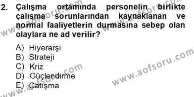Konaklama İşletmeciliği Bölümü 4. Yarıyıl Otel Yönetimi Dersi 2013 Yılı Bahar Dönemi Dönem Sonu Sınavı 2. Soru