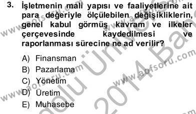 Konaklama İşletmeciliği Bölümü 4. Yarıyıl Otel Yönetimi Dersi 2014 Yılı Bahar Dönemi Ara Sınavı 3. Soru