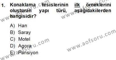 Konaklama İşletmeciliği Bölümü 4. Yarıyıl Otel Yönetimi Dersi 2015 Yılı Bahar Dönemi Ara Sınavı 1. Soru