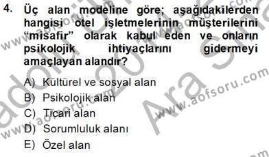 Konaklama İşletmeciliği Bölümü 4. Yarıyıl Otel Yönetimi Dersi 2015 Yılı Bahar Dönemi Ara Sınavı 4. Soru