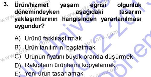 Hizmet Tasarımı Dersi 2012 - 2013 Yılı Dönem Sonu Sınavı 3. Soru